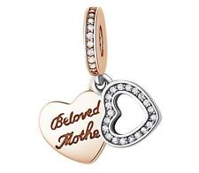 🎊 925 STERLING SILVER ROSE GOLD MOTHER MUM FAMILY LOVE MUMMY CZ PENDANT CHARM