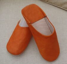 VERY SOFT LEATHER SLIPPERS / MULES * ORANGE  10/44 From Morocco