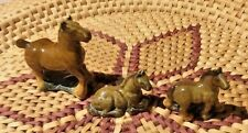 Set of Wade Whimsie Shire Horses. Mare and Two foals Brown