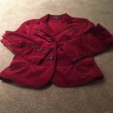 Ladies Rafaella burgundy coat 12 LS women's long sleeve LS buttons