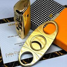 24ct Gold Plated Cohiba Cigar Cutter Gas Turbo Cigar Windproof Lighter Set 24k