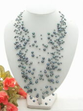 """17"""" Starriness 18Strds Black Pearl  Necklace"""