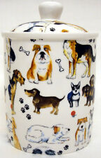 Dogs Collage Canister Fine Bone China Dogs Ceramic Storage Jar Hand Decorated UK