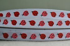 "10mm (3/8"") WHITE w/ RED & PINK LADYBUGS grosgrain ribbon 3 mtrs for crafts"