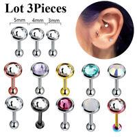 5 PC Lot Triple Helix 316L Titanium Non-Piercing Ear Fake Cartilage Cuff Earring