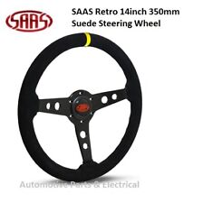"SAAS RETRO 14"" 350MM BLACK SUEDE STEERING WHEEL WITH BLACK SPOKE & YELLOW MARKER"