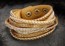 Wrap around cuff BRACELET BROWN silver Stud Sparkle Crystal Studded UK Seller