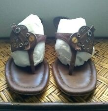 Prada Brown Kitten Heel Mule Thong Steampunk Heart Sandals Shoes Sz 38.5/US 8.5