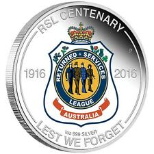 2016 $1 RSL CENTENARY 1oz SILVER PROOF COIN CERTIFICATE NUMBER : 1996