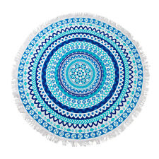 100% Cotton Terry Velour 150cm Round Beach Towel Throw Blanket Belize Blue