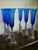 Bellissimo Set Servito 6 Bicchieri Vetro Blu Base Bambino PL Arg.925 Da Spumante