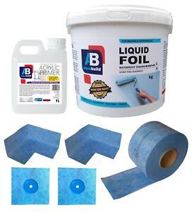 7.5 m² Waterproof Tanking Set Aqua Build Shower Liquid Foil Membrane Seal Kit10