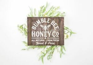 Bumble Bee Honey Sign Vinyl Decal Sticker Box Frame Wood Boards Wall Farmhouse