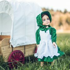 "Little House 18"" DOLL PRAIRIE DRESS APRON & BONNET  Fits American Girl Clothes"