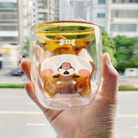 Lovely Dog Double Layer Glass Heat Resistant Tea Milk Coffee Mug Water Cup