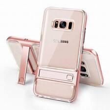 Hybrid Crystal Clear Hard Bumper Kickstand Holder Case For Samsung Galaxy S8 J7