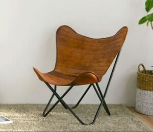 Vintage Leather Butterfly Chair Goat Leather Seat Folding Chair Free Shipping US