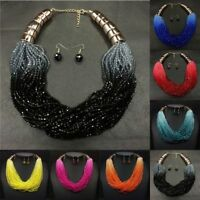 Fashion Multi Strand Color Blue Green Red Glass Seed Bead Necklace Earring Set
