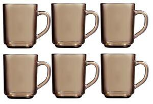 Set Of 6 Luminarc Retro Smoked Glass Coffee Mugs Hot Drinks Mocha Tea Cup 25cl