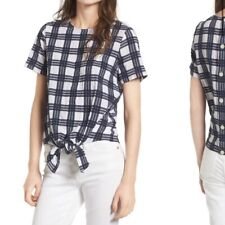 Madewell women's plaid button back knot bottom short sleeve top size:XXS