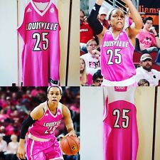 Asia Durr 2016-17 Louisville Cardinals Pink Play4Kay Cancer Game Worn Jersey