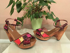 Ladies Buffalo LONDON red multi leather strappy platform sandals UK 4.5 EU 37.5