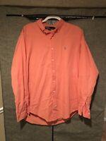 Mens Polo Ralph Lauren Long Sleeve Button Up Dress Shirt Pink Size XL