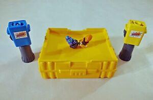 Vintage SPINJAS Yellow Arena (100% Complete, 2 Launchers & 2 Figures) 1987 Tomy