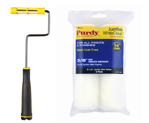"""Purdy Jumbo MINI PAINT ROLLER FRAME including 6.5"""", 4.5"""" Paint Roller Sleeves x2"""