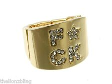 Last One! Urban Hip Hop Fashion F*CK Crystal Bling Stretch Ring in Gold