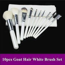 Pro 10pcs high quality goat hair white color makeup brushes set kit with pouch