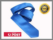 Ocean Blue New Slim Solid Mens silk Tie groom wedding skinny silver  Necktie