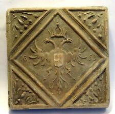 Tile Renaissance Terracotta Arms - Dated 1653 Ancient Armorial Tile
