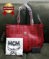 NEW Authentic MCM Medium Reversible Liz Shopper tote bag Red (Ruby)