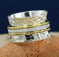 CZ Gemstone Party Wear Two Tone Spinner Ring Band 925 Sterling Silver Jewelry