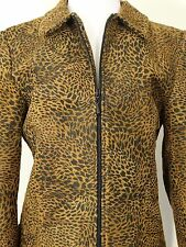 Vintage Lori Zoni leather Jacket Women's Small Brown Black leopard Print