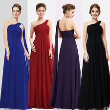 Chiffon Long One Shoulder Bridesmaid Dress Evening Party Ball Prom Gowns 09816