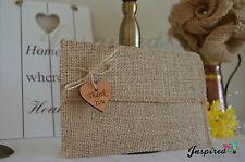 10 Wedding Invitation Thank u Hessian Vintage Rustic Burlap Envelope Wood Heart