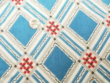 BEST Vintage Feedsack Quilt Fabric 40s Plaid RED Blue Geometric Flour Full Sack