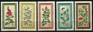 Germany (East) 1960 MNH - Medicinal Plants Foxglove Camomile Peppermint Poppy