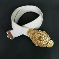 "VTG 80s 1985 SIGNED Mimi Di N Large 4"" Floral  Scroll Belt and Buckle Gold"