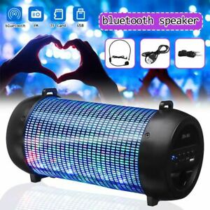 BLUETOOTH SPEAKER Portable Wireless Boombox Outdoor Indoor Stereo FM LIGHT