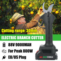 88V Cordless Electric Pruning Shears Li-ion Secateur Branch Cutter + 2 Battery