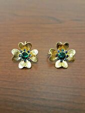 Vintage Gold Tone Green Rhinestones Floral Clip On Earrings
