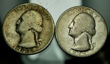 Pair of 1932 D & 1932 S Washington Quarters - Good !!