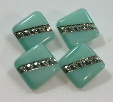 """Lot of 4 Vintage Le Chic Buttons Pale Blue Green Square 1/2"""""""
