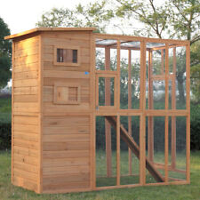 Outdoor Cat Run Enclosure Wooden Fun Small Animal Shelter Pet Cage