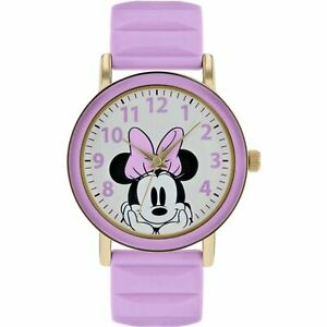 Disney Minnie Mouse Quartz Silver Dial Purple Silicone Strap Girls Watch MN9011