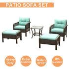 5 Pcs Outdoor Patio Sofa Furniture Set Rattan Wicker Cushion Outdoor Garden New