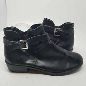 Time And Tru Black Faux Leather Zip Chelsea Ankle Boot Shoes Women Size 9